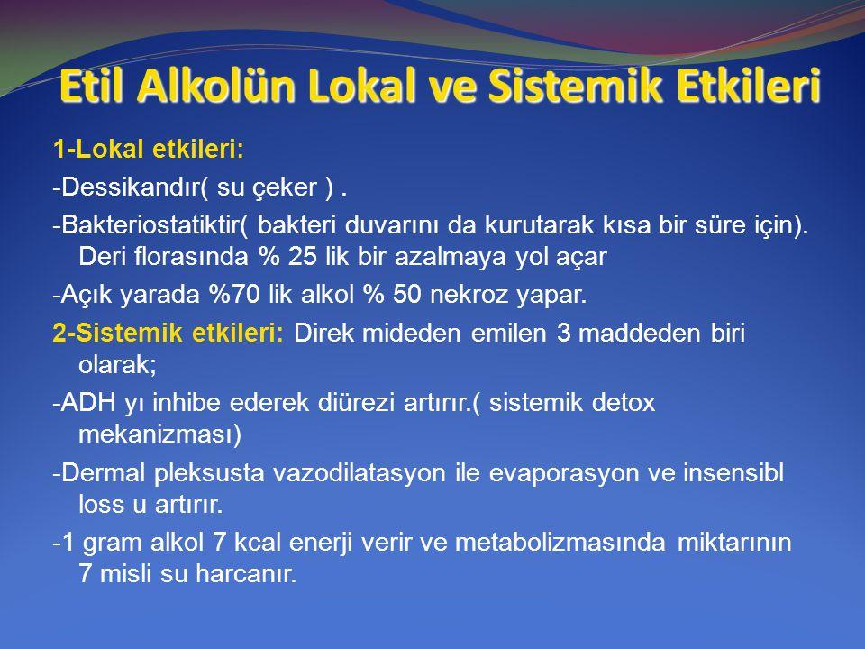 Etil Alkolün Lokal ve Sistemik Etkileri 1-Lokal etkileri: -Dessikandır( su çeker ). -Bakteriostatiktir( bakteri duvarını da kurutarak kısa bir süre iç