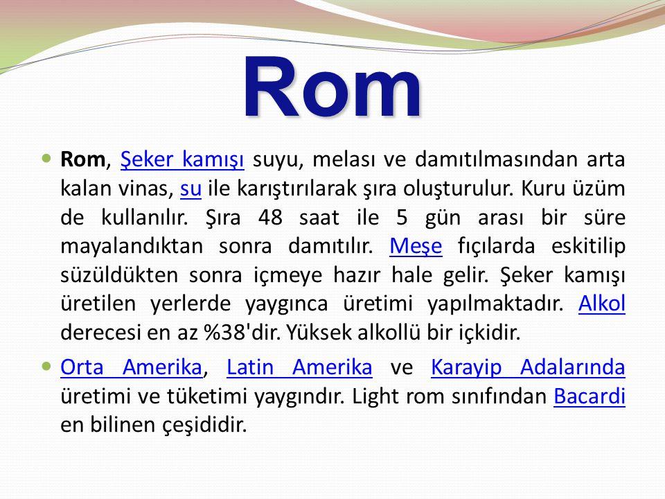 Rom Rom, Şeker kamışı suyu, melası ve damıtılmasından arta kalan vinas, su ile karıştırılarak şıra oluşturulur. Kuru üzüm de kullanılır. Şıra 48 saat