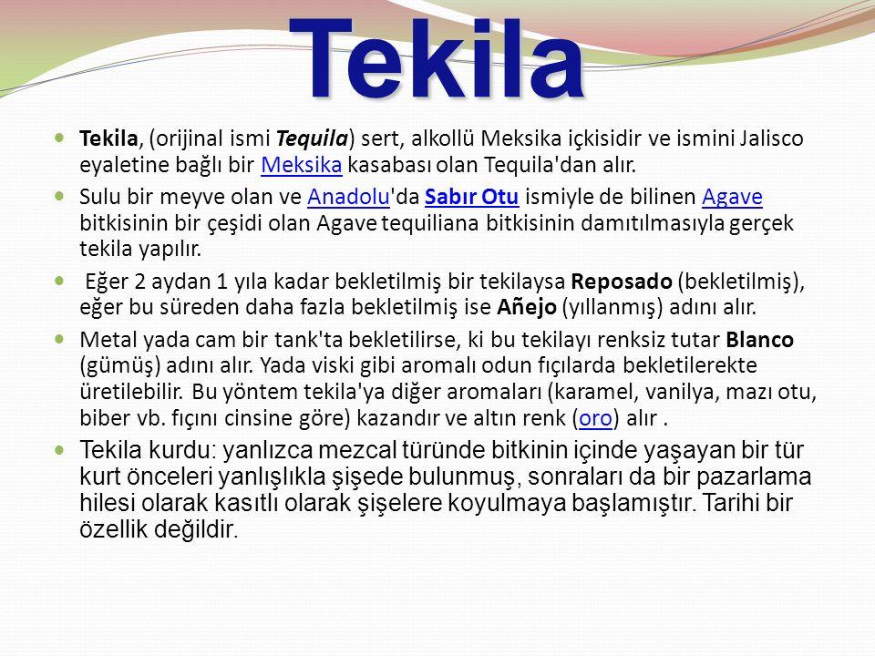 Tekila Tekila, (orijinal ismi Tequila) sert, alkollü Meksika içkisidir ve ismini Jalisco eyaletine bağlı bir Meksika kasabası olan Tequila'dan alır.Me