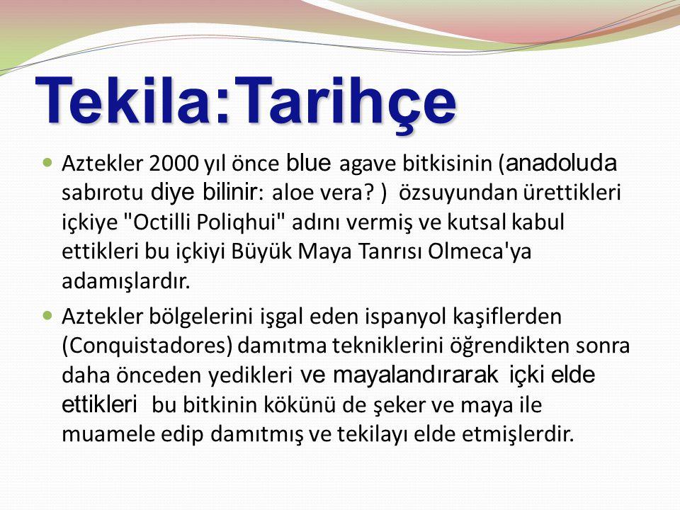 Tekila:Tarihçe Aztekler 2000 yıl önce blue agave bitkisinin ( anadoluda sabırotu diye bilinir : aloe vera.