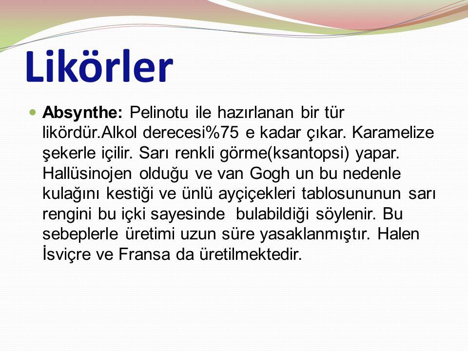 Likörler Absynthe: Pelinotu ile hazırlanan bir tür likördür.Alkol derecesi%75 e kadar çıkar. Karamelize şekerle içilir. Sarı renkli görme(ksantopsi) y