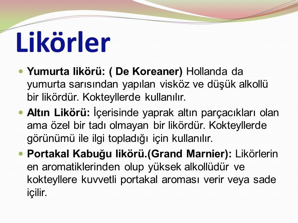 Likörler Yumurta likörü: ( De Koreaner) Hollanda da yumurta sarısından yapılan visköz ve düşük alkollü bir likördür.