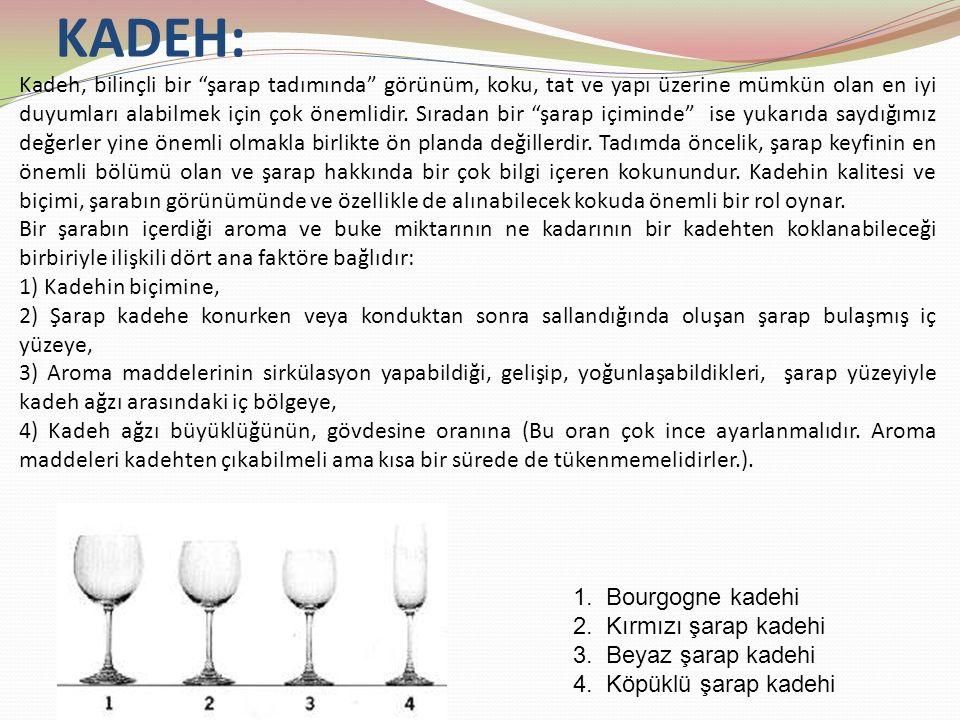 KADEH: Kadeh, bilinçli bir şarap tadımında görünüm, koku, tat ve yapı üzerine mümkün olan en iyi duyumları alabilmek için çok önemlidir.