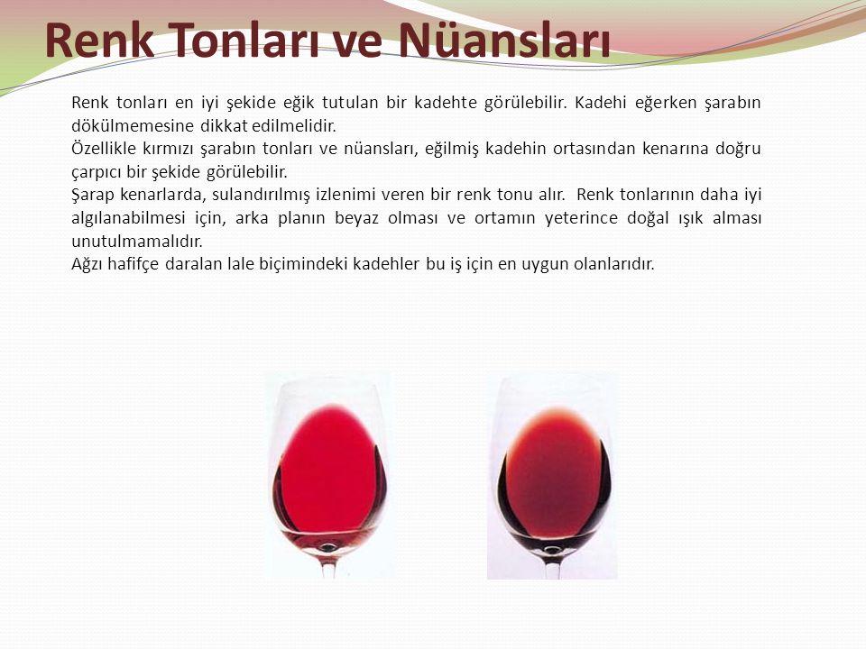 Renk Tonları ve Nüansları Renk tonları en iyi şekide eğik tutulan bir kadehte görülebilir. Kadehi eğerken şarabın dökülmemesine dikkat edilmelidir. Öz