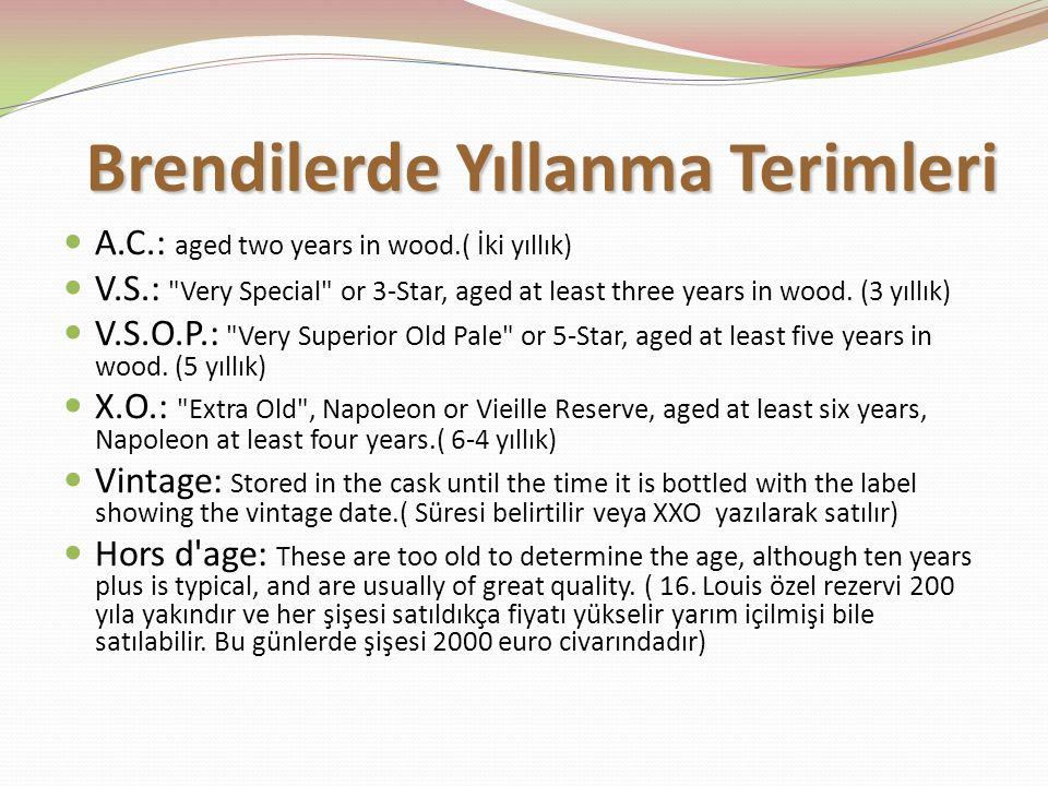 Brendilerde Yıllanma Terimleri A.C.: aged two years in wood.( İki yıllık) V.S.: Very Special or 3-Star, aged at least three years in wood.