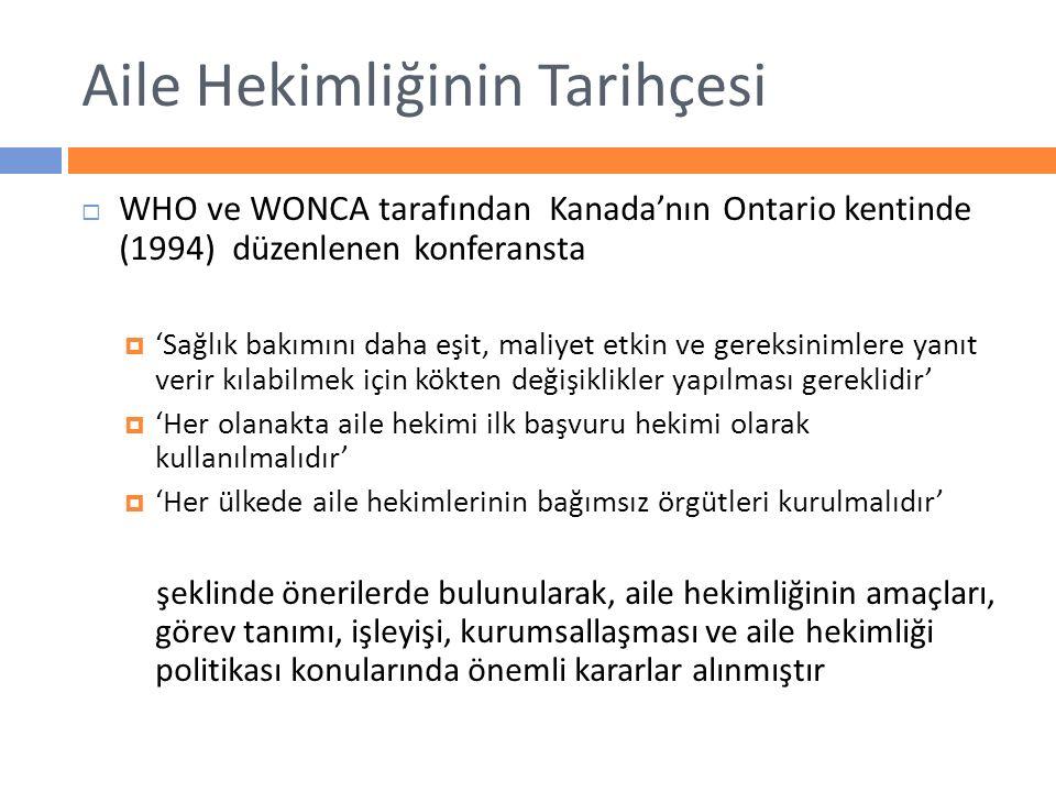 Aile Hekimliğinin Tarihçesi  WHO ve WONCA tarafından Kanada'nın Ontario kentinde (1994) düzenlenen konferansta  'Sağlık bakımını daha eşit, maliyet
