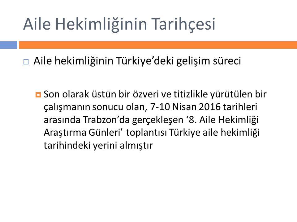 Aile Hekimliğinin Tarihçesi  Aile hekimliğinin Türkiye'deki gelişim süreci  Son olarak üstün bir özveri ve titizlikle yürütülen bir çalışmanın sonuc