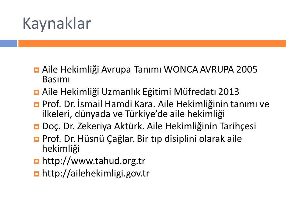 Kaynaklar  Aile Hekimliği Avrupa Tanımı WONCA AVRUPA 2005 Basımı  Aile Hekimliği Uzmanlık Eğitimi Müfredatı 2013  Prof. Dr. İsmail Hamdi Kara. Aile