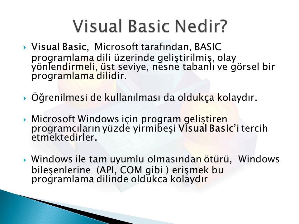  Visual Basic, Microsoft tarafından, BASIC programlama dili üzerinde geliştirilmiş, olay yönlendirmeli, üst seviye, nesne tabanlı ve görsel bir progr