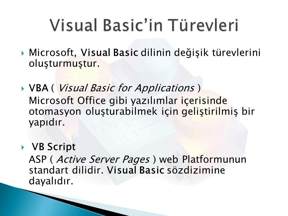  Microsoft, Visual Basic dilinin değişik türevlerini oluşturmuştur.  VBA ( Visual Basic for Applications ) Microsoft Office gibi yazılımlar içerisin