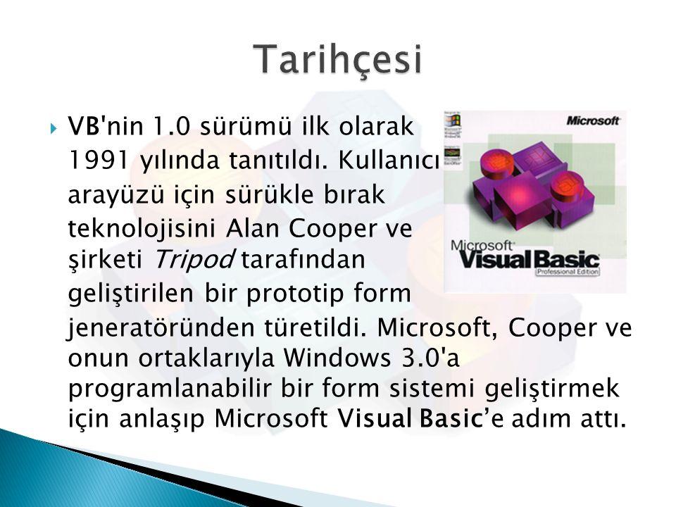  VB'nin 1.0 sürümü ilk olarak 1991 yılında tanıtıldı. Kullanıcı arayüzü için sürükle bırak teknolojisini Alan Cooper ve şirketi Tripod tarafından gel