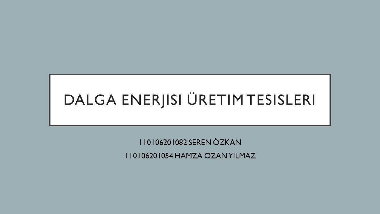 DALGA ENERJISI ÜRETIM TESISLERI 110106201082 SEREN ÖZKAN 110106201054 HAMZA OZAN YILMAZ