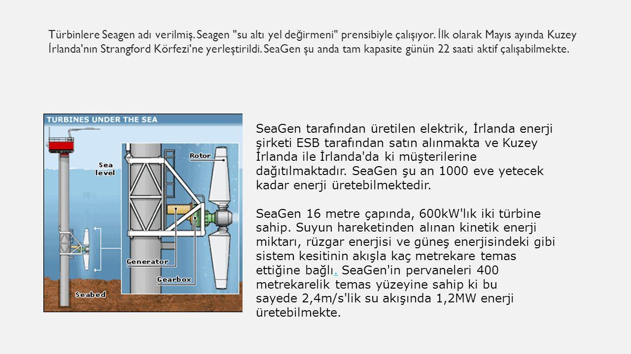 Türbinlere Seagen adı verilmiş. Seagen su altı yel de ğ irmeni prensibiyle çalışıyor.