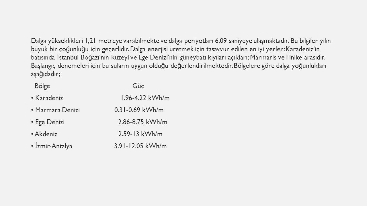 Dalga yükseklikleri 1,21 metreye varabilmekte ve dalga periyotları 6,09 saniyeye ulaşmaktadır. Bu bilgiler yılın büyük bir ço ğ unlu ğ u için geçerlid
