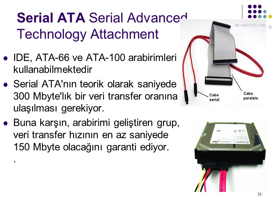 35 Serial ATA Serial Advanced Technology Attachment IDE, ATA-66 ve ATA-100 arabirimleri kullanabilmektedir Serial ATA'nın teorik olarak saniyede 300 M