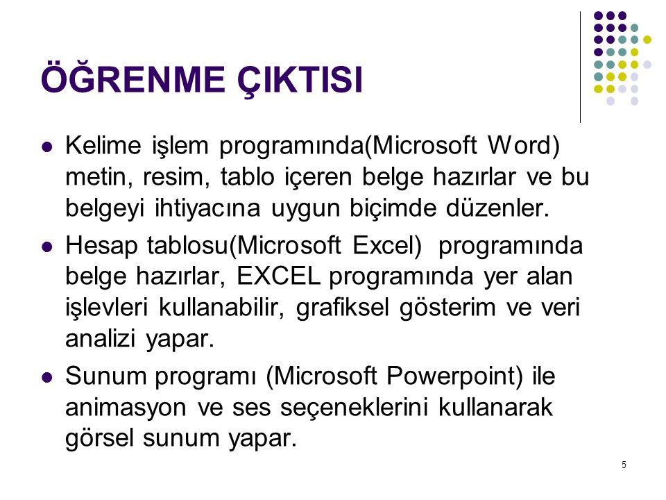 ÖĞRENME ÇIKTISI Kelime işlem programında(Microsoft Word) metin, resim, tablo içeren belge hazırlar ve bu belgeyi ihtiyacına uygun biçimde düzenler. He