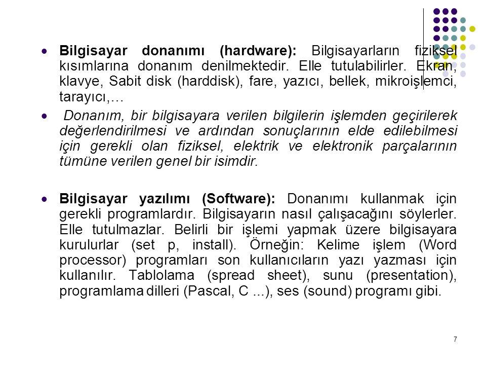 8 YAZILIM Bilgisayar donanımının hangi veri üzerinde, hangi işlemi, ne zaman ve nasıl yapacağını belirten komut gruplarının (program) bütününe yazılım (software) denir.