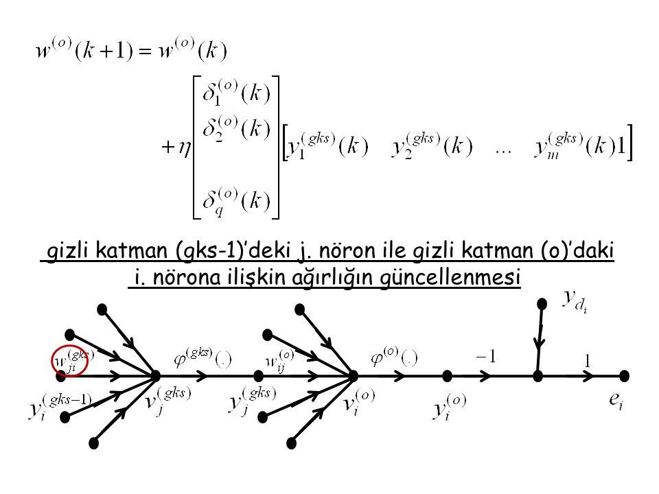 gizli katman (gks-1)'deki j. nöron ile gizli katman (o)'daki i. nörona ilişkin ağırlığın güncellenmesi