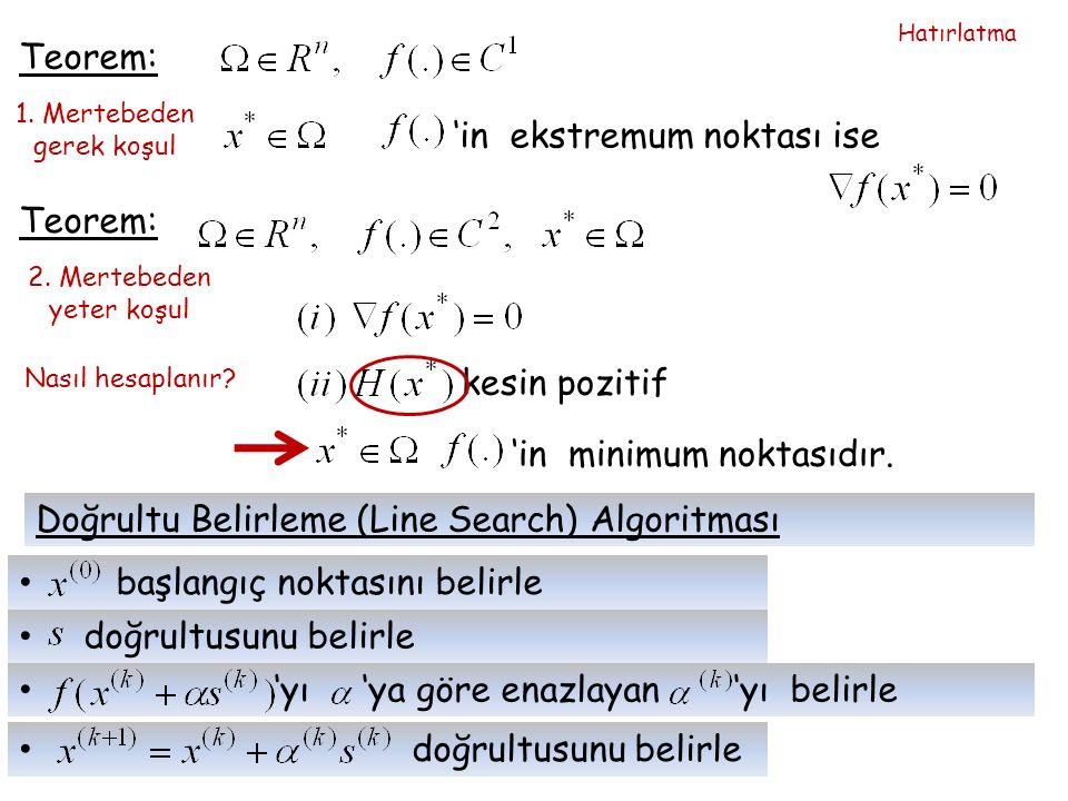 Teorem: 1. Mertebeden gerek koşul 'in ekstremum noktası ise Teorem: 2.