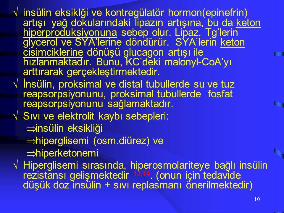 9 Hipergliseminin ortaya çıkmasında, gluconeogenez, glıkogenolizden daha fazla önem taşımaktadır 10.11.12. DKA'da, hipergliseminin büyük bir kısmı kar