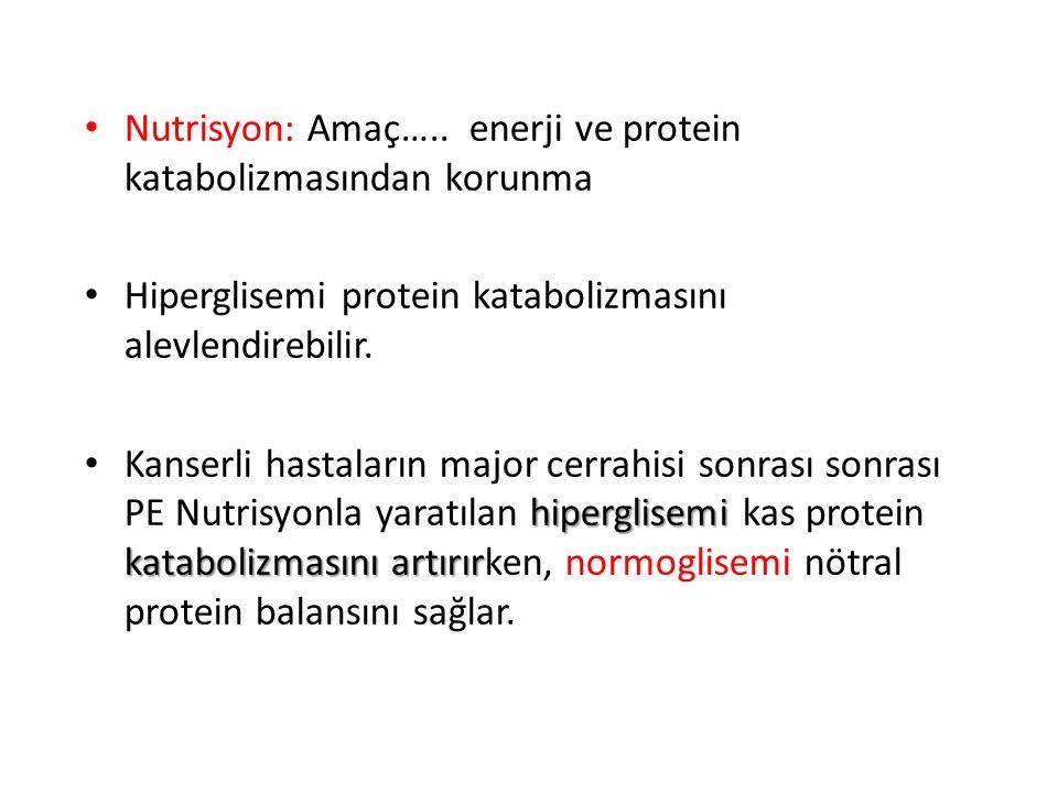 Nutrisyon: Amaç….. enerji ve protein katabolizmasından korunma Hiperglisemi protein katabolizmasını alevlendirebilir. hiperglisemi katabolizmasını art