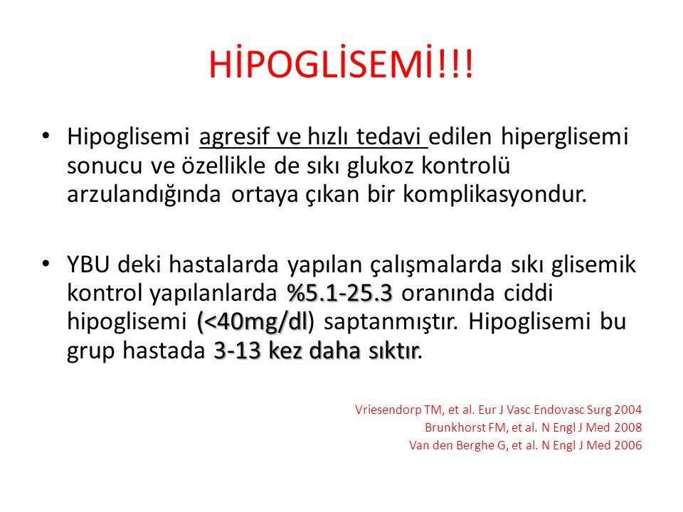 HİPOGLİSEMİ!!! Hipoglisemi agresif ve hızlı tedavi edilen hiperglisemi sonucu ve özellikle de sıkı glukoz kontrolü arzulandığında ortaya çıkan bir kom