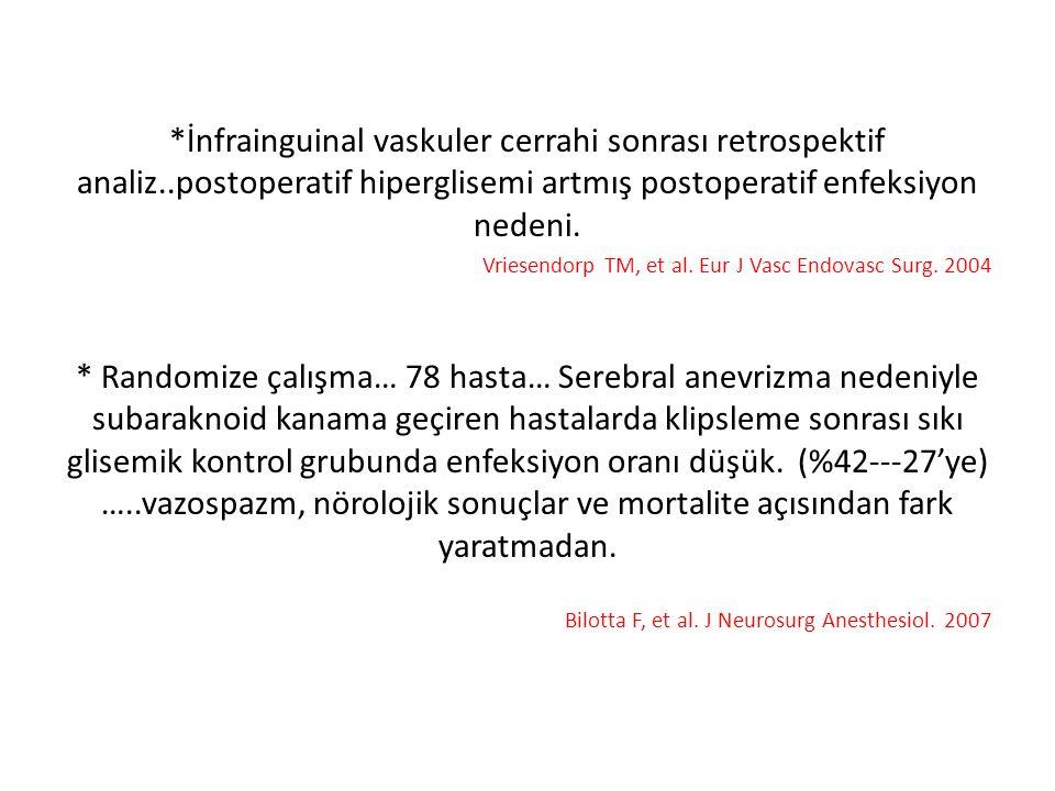 *İnfrainguinal vaskuler cerrahi sonrası retrospektif analiz..postoperatif hiperglisemi artmış postoperatif enfeksiyon nedeni. Vriesendorp TM, et al. E
