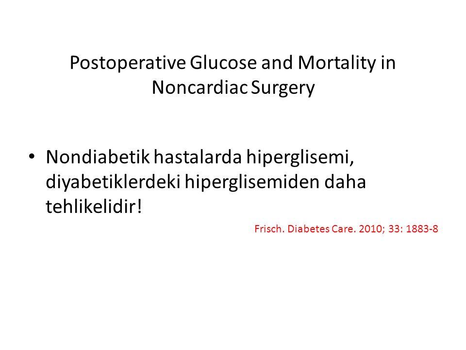 Postoperative Glucose and Mortality in Noncardiac Surgery Nondiabetik hastalarda hiperglisemi, diyabetiklerdeki hiperglisemiden daha tehlikelidir! Fri