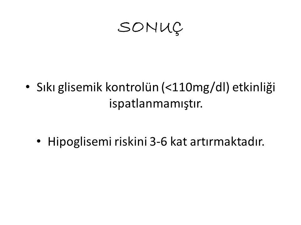 SONUÇ Sıkı glisemik kontrolün (<110mg/dl) etkinliği ispatlanmamıştır.