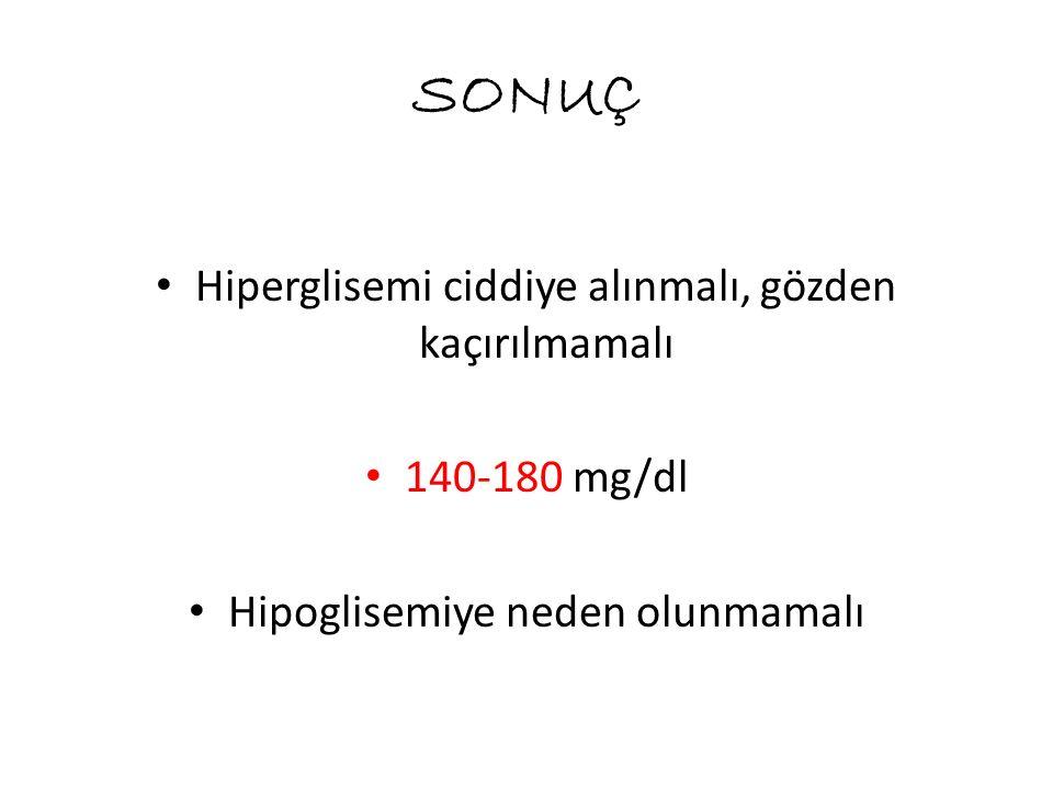 SONUÇ Hiperglisemi ciddiye alınmalı, gözden kaçırılmamalı 140-180 mg/dl Hipoglisemiye neden olunmamalı