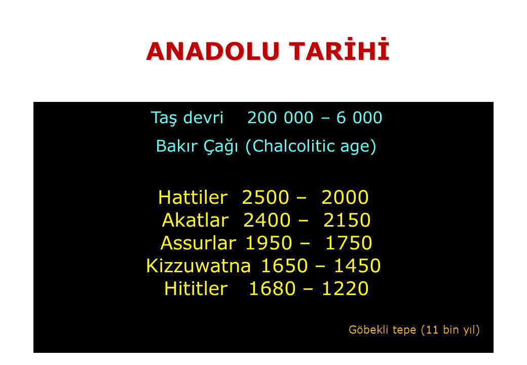 Taş devri 200 000 – 6 000 Bakır Çağı (Chalcolitic age) Hattiler 2500 – 2000 Akatlar 2400 – 2150 Assurlar 1950 – 1750 Kizzuwatna 1650 – 1450 Hititler 1