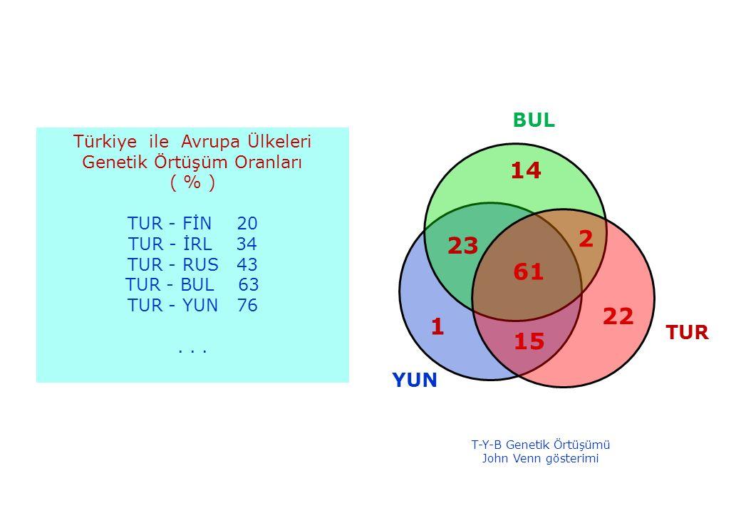 31.05.201635 Türkiye ile Avrupa Ülkeleri Genetik Örtüşüm Oranları ( % ) TUR - FİN 20 TUR - İRL 34 TUR - RUS 43 TUR - BUL 63 TUR - YUN 76...