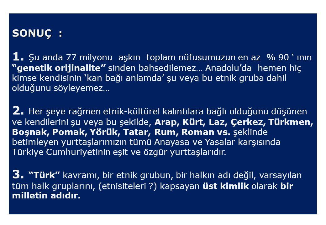 """SONUÇ : 1. Şu anda 77 milyonu aşkın toplam nüfusumuzun en az % 90 ' ının """"genetik orijinalite"""" sinden bahsedilemez… Anadolu'da hemen hiç kimse kendisi"""