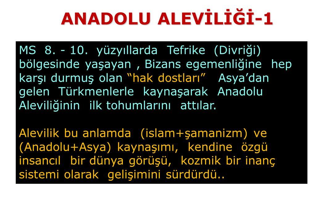 """MS 8. - 10. yüzyıllarda Tefrike (Divriği) bölgesinde yaşayan, Bizans egemenliğine hep karşı durmuş olan """"hak dostları"""" Asya'dan gelen Türkmenlerle kay"""