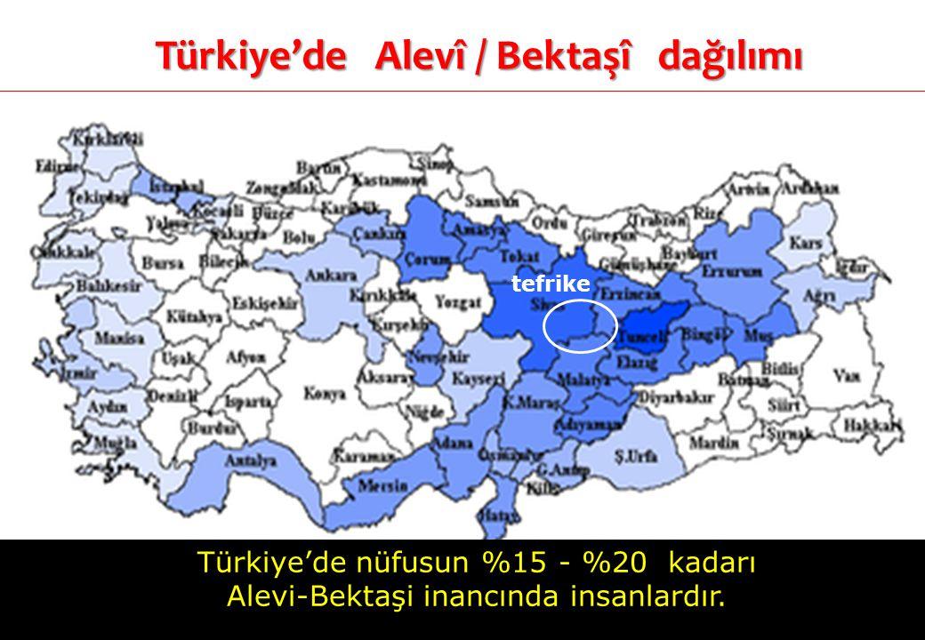 Türkiye'de Alevî / Bektaşî dağılımı tefrike Türkiye'de nüfusun %15 - %20 kadarı Alevi-Bektaşi inancında insanlardır.