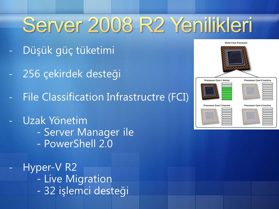 - Düşük güç tüketimi - 256 çekirdek desteği - File Classification Infrastructre (FCI) - Uzak Yönetim - Server Manager ile - PowerShell 2.0 - Hyper-V R2 - Live Migration - 32 işlemci desteği