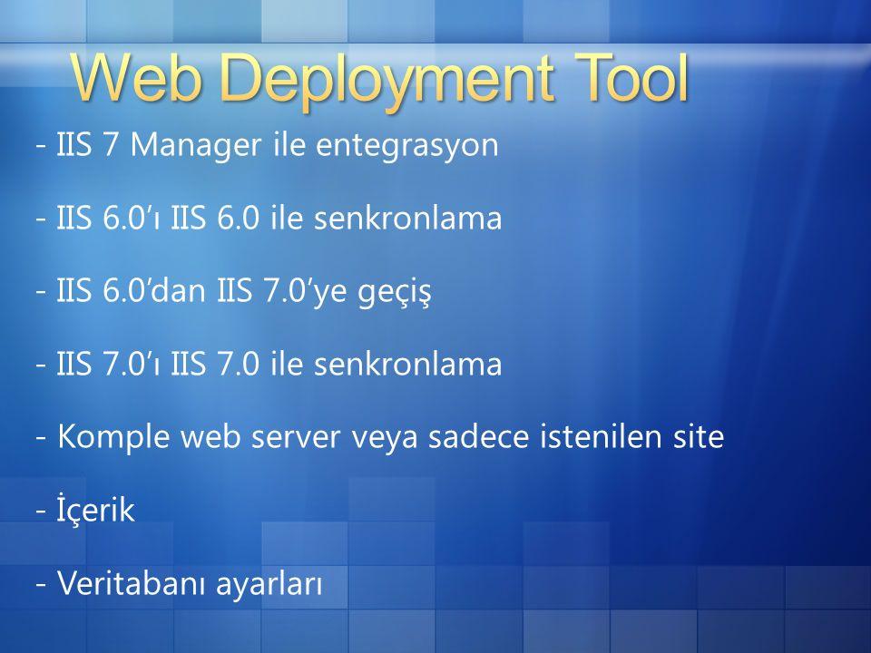 - IIS 7 Manager ile entegrasyon - IIS 6.0'ı IIS 6.0 ile senkronlama - IIS 6.0'dan IIS 7.0'ye geçiş - IIS 7.0'ı IIS 7.0 ile senkronlama - Komple web server veya sadece istenilen site - İçerik - Veritabanı ayarları