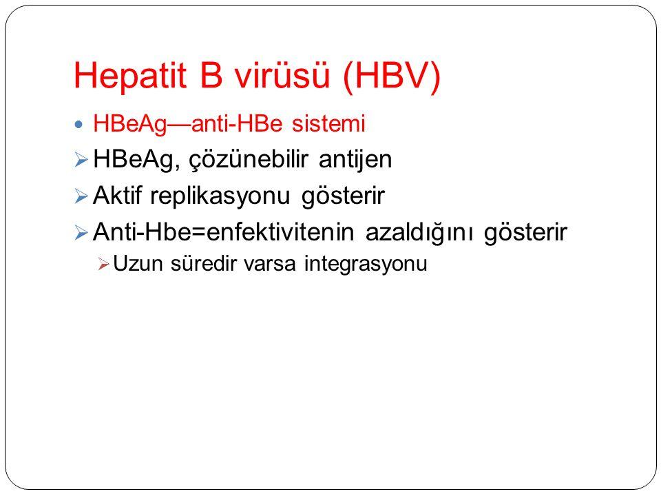 Hepatit B virüsü (HBV) HBeAg—anti-HBe sistemi  HBeAg, çözünebilir antijen  Aktif replikasyonu gösterir  Anti-Hbe=enfektivitenin azaldığını gösterir  Uzun süredir varsa integrasyonu