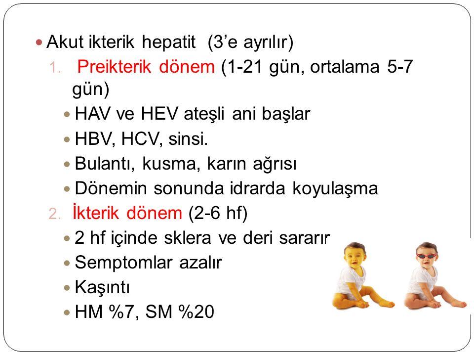 Akut ikterik hepatit (3'e ayrılır) 1.
