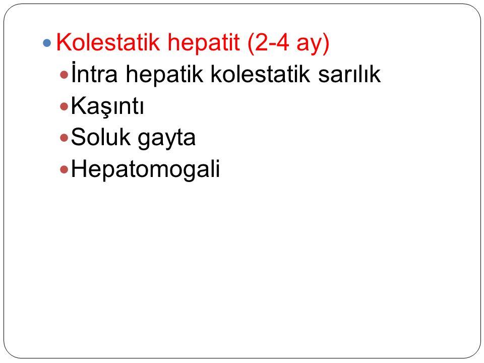 Kolestatik hepatit (2-4 ay) İntra hepatik kolestatik sarılık Kaşıntı Soluk gayta Hepatomogali