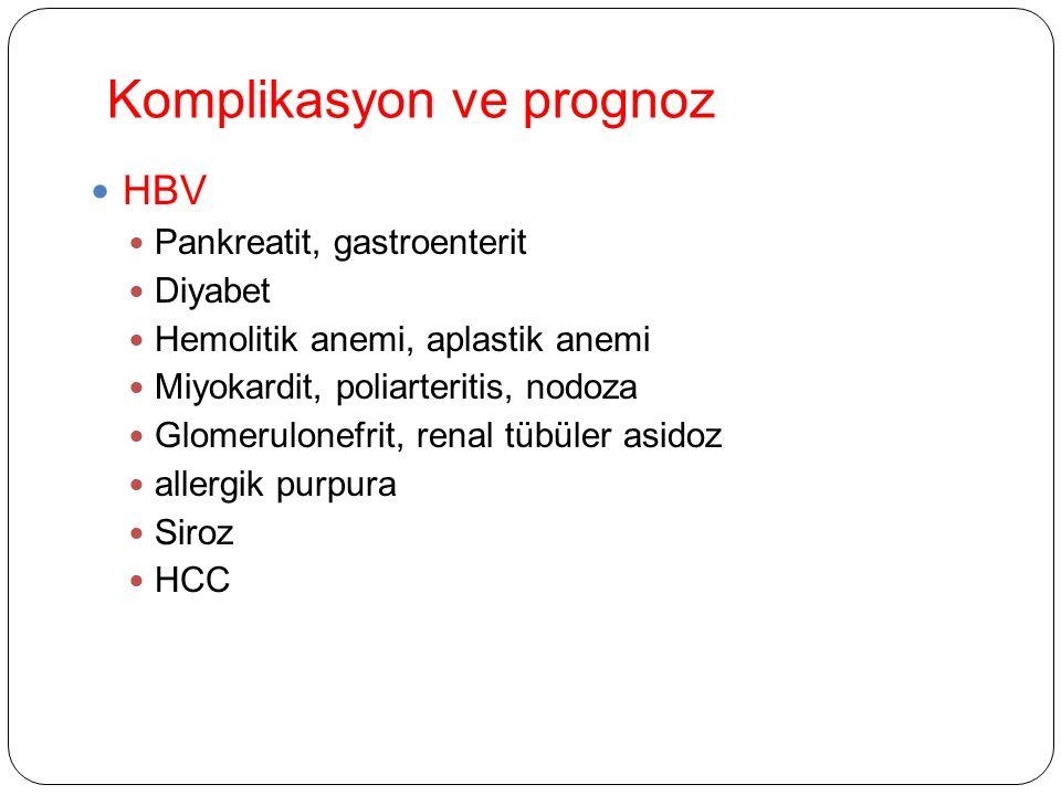 Komplikasyon ve prognoz HBV Pankreatit, gastroenterit Diyabet Hemolitik anemi, aplastik anemi Miyokardit, poliarteritis, nodoza Glomerulonefrit, renal tübüler asidoz allergik purpura Siroz HCC