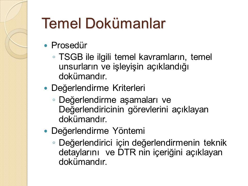 Temel Dokümanlar Prosedür ◦ TSGB ile ilgili temel kavramların, temel unsurların ve işleyişin açıklandığı dokümandır.