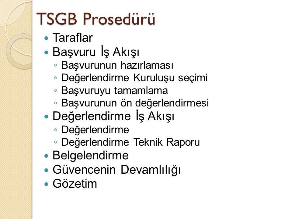 TSGB Prosedürü Taraflar Başvuru İş Akışı ◦ Başvurunun hazırlaması ◦ Değerlendirme Kuruluşu seçimi ◦ Başvuruyu tamamlama ◦ Başvurunun ön değerlendirmesi Değerlendirme İş Akışı ◦ Değerlendirme ◦ Değerlendirme Teknik Raporu Belgelendirme Güvencenin Devamlılığı Gözetim