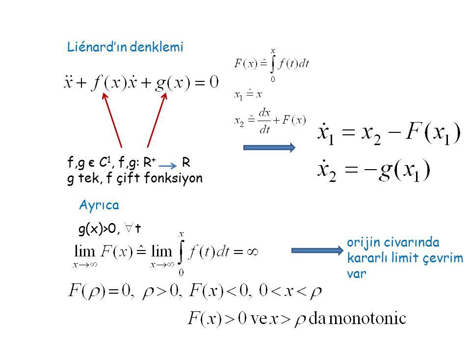 Liénard'ın denklemi f,g є C 1, f,g: R + R g tek, f çift fonksiyon g(x)>0, t Ayrıca orijin civarında kararlı limit çevrim var