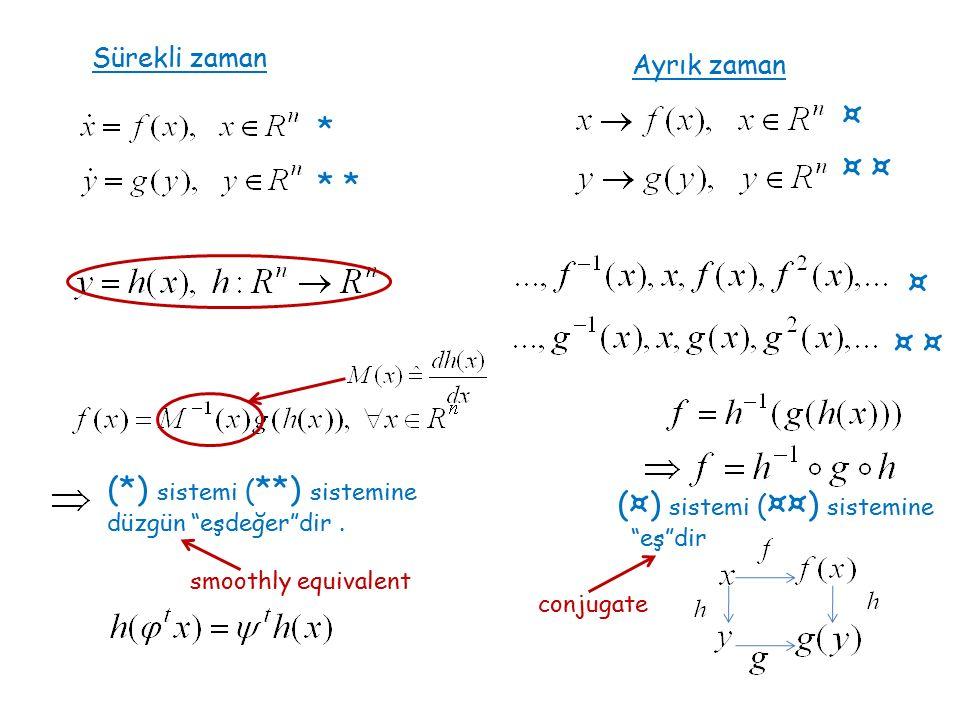 * * ¤ ¤ (*) sistemi ( **) sistemine düzgün eşdeğer dir.