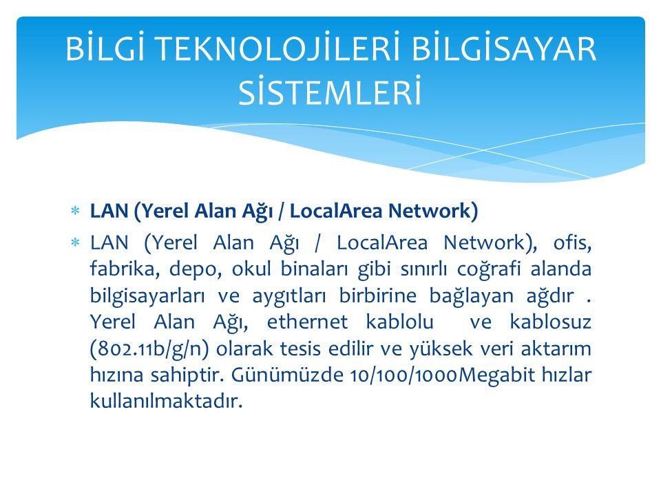  LAN (Yerel Alan Ağı / LocalArea Network)  LAN (Yerel Alan Ağı / LocalArea Network), ofis, fabrika, depo, okul binaları gibi sınırlı coğrafi alanda bilgisayarları ve aygıtları birbirine bağlayan ağdır.