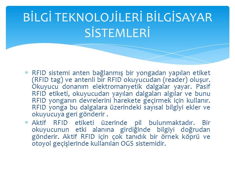  RFID sistemi anten bağlanmış bir yongadan yapılan etiket (RFID tag) ve antenli bir RFID okuyucudan (reader) oluşur.