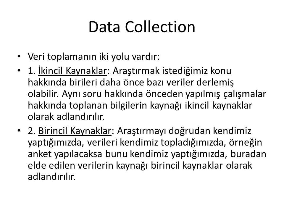 Data Collection Veri toplamanın iki yolu vardır: 1.