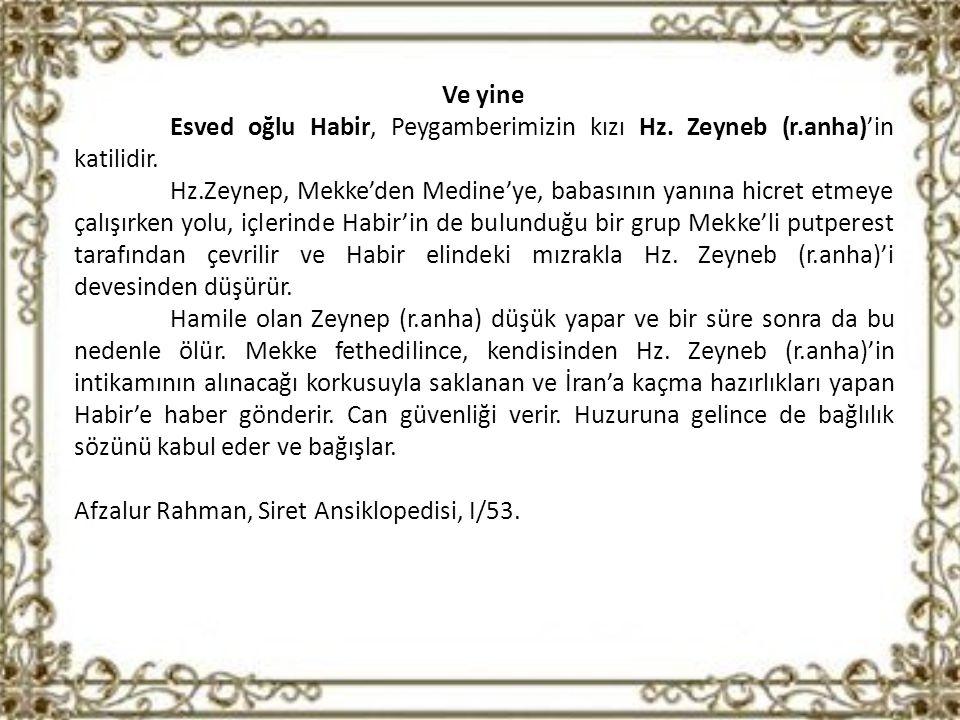 Ve yine Esved oğlu Habir, Peygamberimizin kızı Hz.