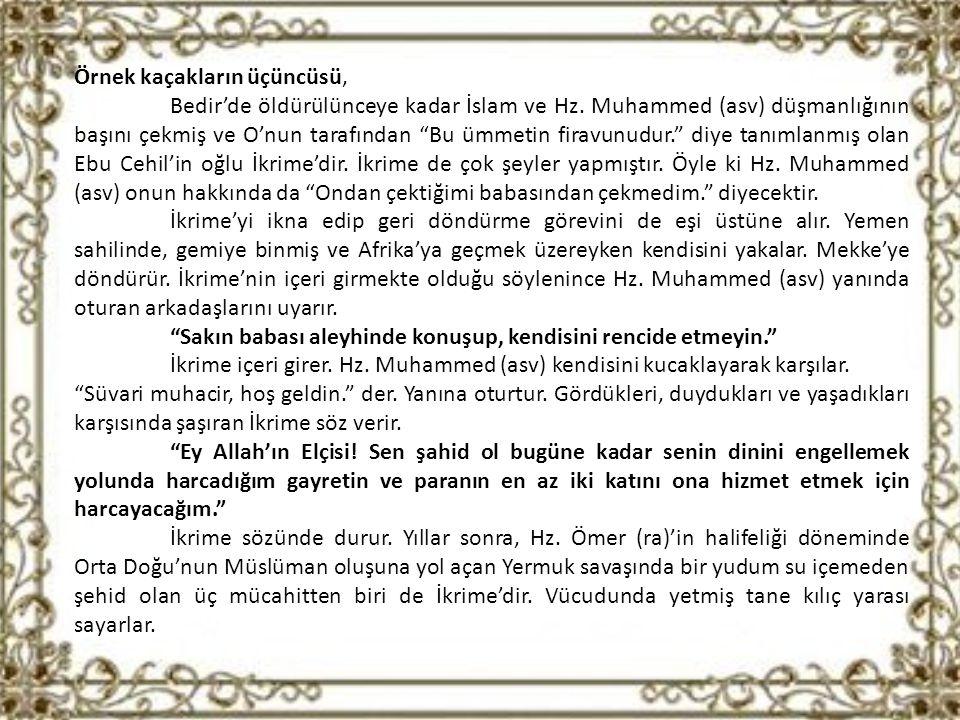 Örnek kaçakların üçüncüsü, Bedir'de öldürülünceye kadar İslam ve Hz.